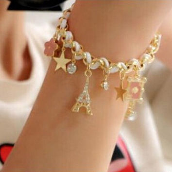 2015 New Fashion Braid Leather Bracelet Eiffel Tower Star Rhinestone Leather Charm Bracelets Bangles for Women Ladies Pink Hot