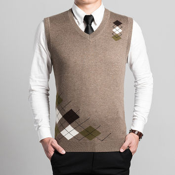 argyle casual wool sweater vest men clothing 2016 autumn winter new design mens v neck sleeveless knitted vest waistcoats