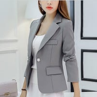 2016 Autumn Women Blazer Long Sleeve Single Button Women'S Jacket  Office OL High-Grade Fashion Slim Short Women'S Suits Q1287