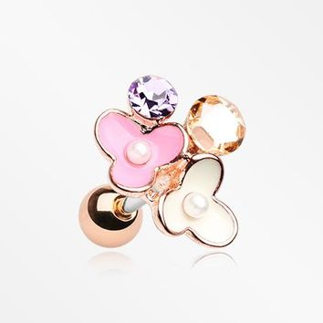 Rose Gold Flower Ranai Sparkle Pearlescent Cartilage Tragus Earring