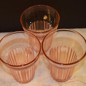 Anchor Hocking Queen Mary 3 Tumblers Vintage Pink Depression Glass Water Juice Glasses Set of 3 Shabby Chic Glassware Replacement