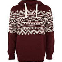 River Island MensRed fair isle panel hooded sweater