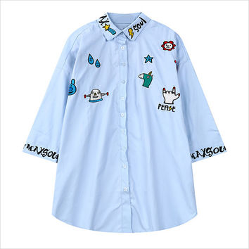 Light Blue Spoof Alien and Unicorn Print Loose Blouse