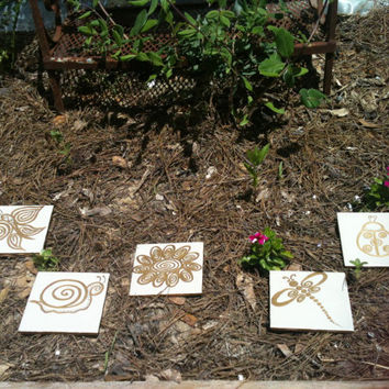 Gold  Whimsical Style Garden Stepping Stones by SimplyEdgyDesigns