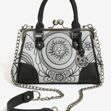 Licensed cool Supernatural Gradient Symbols Kisslock Satchel Crossbody Bag Tote Purse w/ charm