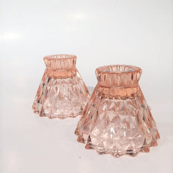 Pink Windsor Diamond Candlestick Holders, Pink Depression Glass Candlestick Holders