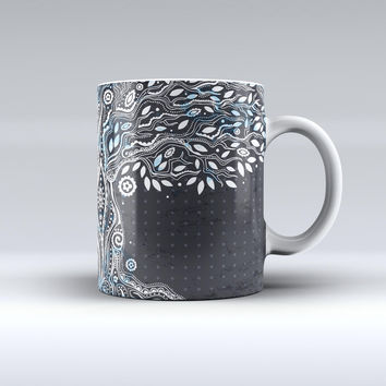 The Flourish Black and White Tree ink-Fuzed Ceramic Coffee Mug