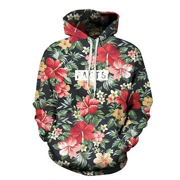 2017 autumn spring 3D Hoodies Floral Facts Print Men Women Brand Clothing Sweatshirt Unisex Couple models Hooded sweatshirt