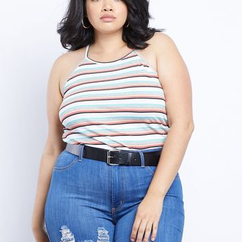 Plus Size Sandy Beach Striped Tank Top