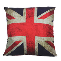 Vintage Print Union Jack Flag Throw Pillow 18-in Square