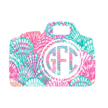 Camera Lilly Pulitzer Monogram Decal For Yeti Tumblers, Cars, and Tech Devices
