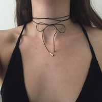 Genuine Leather Thin Bolo Wrap Choker Necklace