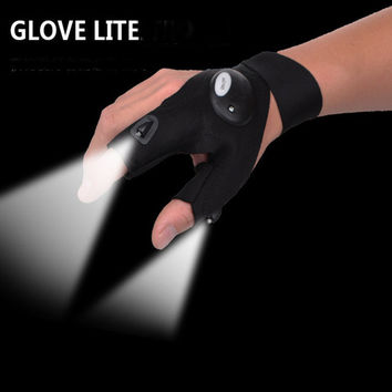 Nighttime Car&motorcycle repair tools Magic Strap Fingerless Glove LED Flashlight Torch Cover Survival Rescue Tool Freeshipping