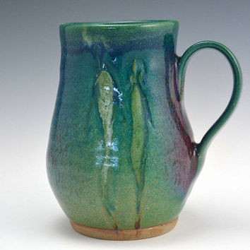 Handmade Blue Coffee Cup, Large  Green and blue mug, Coffee Mug  16 oz.  Pottery coffee cup with figure.
