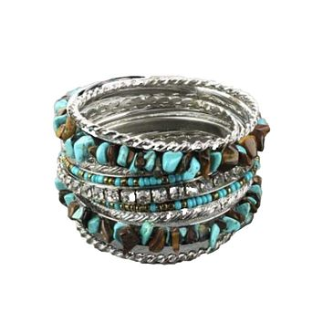 Set of Nine Stackable Turquoise Bangle Bracelets