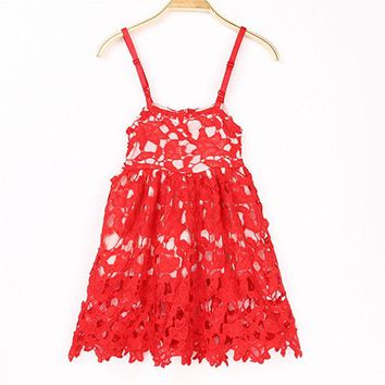 Cute Flower Kids Baby Girls Red Princess Dress Pageant Party Wedding Lace Tutu Dress Clothes