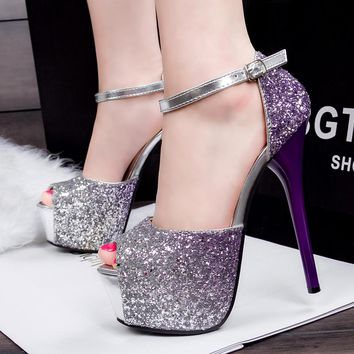 2018 Women Pumps Female Single High Heels Wedding Shoes Purple/Red/Blue glitter Autumn platforms Pumps