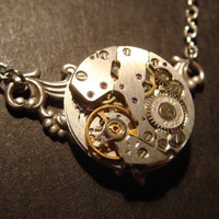 Steampunk Watch Movement Necklace on Antique Silver Victorian Style Setting (416)