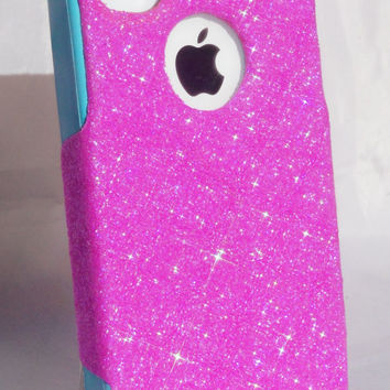 Custom Glitter Case Otterbox for iPhone 4/4S Bubblegum Pink/Teal