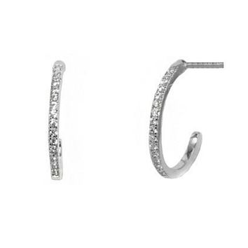 Nan Pave CZ Petite Huggie Earrings.| Cubic Zirconia | Silver
