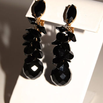 Vintage 1960's Black Beaded Earrings, Faceted Glass Costume Jewelry