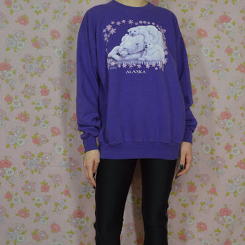 90s Soft Grunge Sweatshirt Polar Bear Sweater Kawaii Pastel Alaska Purple Sweatshirt Snow Wildlife