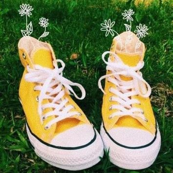 Converse All Star Classic Fashion Classic High Tops Sports Shoes Sneakers Yellow I/A