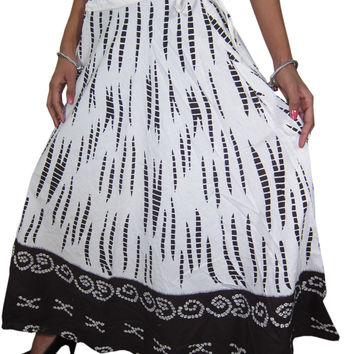 Womans Vinatge Skirt Black White Printed Cotton Peasant Gypsy Beach Skirts