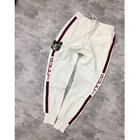 "Hot Sale ""Gucci"" Popular Stripe Sequin Cat Embroidery Sport Stretch Pants Trousers Sweatpants White I-CY-MN"