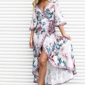 The Perfect Treasure Dusty Rose Floral Maxi Wrap Dress