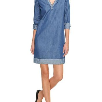 Gap Women Factory Contrast Chambray Tunic Dress