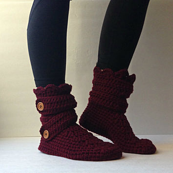 Women's Crochet Burgundy Slipper Boots, Crochet Slippers, Crochet Booties, Crochet House Shoes, Crochet Winter Boots, Burgundy Boots