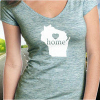 Wisconsin Home T-Shirt - V-Neck - State Pride - Home Tee - Clothing - Womens - Ladies
