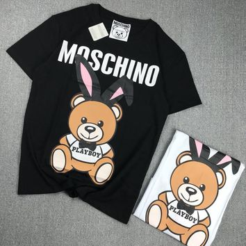 """Moschino"" Women Casual Letter Cute Cartoon Rabbit Bear Cub Print Couple Short Sleeve T-shirt Top Tee"