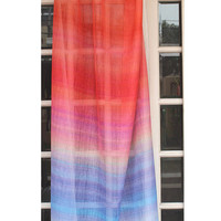 """Ombre Curtain - Red And Blue 26""""x84"""" Sheer Rod Pocket Curtain Weave Fabric Decor Housewares Ombre Window Treatment Drapes Curtain Panels"""
