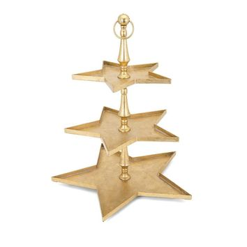 Christmas Gold Star 3 Tier Server - Gold - Benzara