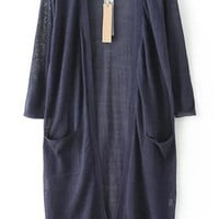 Three Quarter Length Sleeve With Pockets Long Line Navy Cardigan