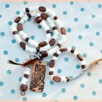 White Puka Rock Necklace and Bracelet Set with wooden owl charm// Owl Jewelry// Puka Necklace and Bracelet// White and Brown Necklace Set//