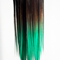Ombré Green Dip Dyed 7pcs Straight Clip-In Hair Extensions