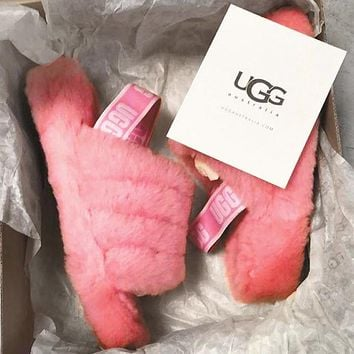 Hight Quality UGG Winter Fashion Slippers Women's Retro Fluff Yeah Slipper Shoes Rose Red I/A