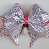 3 Wide Luxury Cheer Bow    White Metallic by BowsWithAttitude
