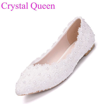 White lace wedding shoes flats casual flat heel white pointed toe flats women shoes flats white lace casual flats plus size 41