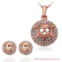 Exquisite Different Styles Imitation Gold Plating Rhinestone Skull Jewelry Set