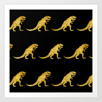Golden T.Rex Pattern Art Print by Chobopop