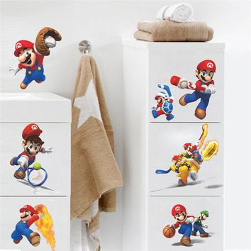 Cartoon Mario Play Sports Wall Stickers for Kids Rooms Home Decoration Children Bros Game Wall Decals Art Poster Wallpaper
