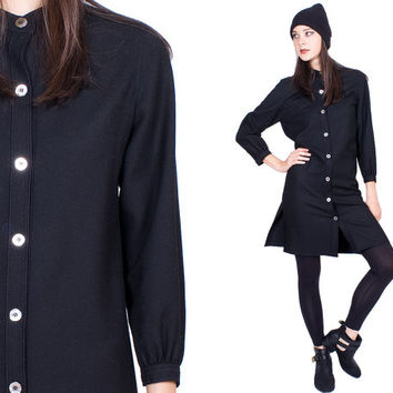 Black Woolen Dress Lily Simon Buttoned Down Round Collar Shimmering Button Vintage 1960s 60s
