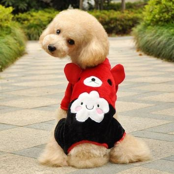 DCCKH6B Hot Soft Warm Dog Clothes Fleece Winter Pet Coat Minions Dogs Costume Puppy Clothing Jacket Teddy Hoodie Coat
