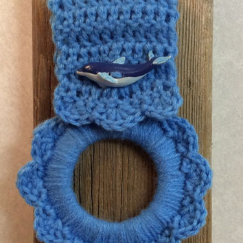 Dolphin kitchen towel holder, nautical towel hanger, oven towel hanger, button towel holder, crochet, beach, ocean, crochet towel hanger,