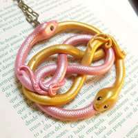 Pink and gold Auryn pendant. The neverending story the auryn medallion pendant