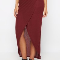 Burgundy Ribbed Knit Tulip Maxi Skirt | Maxi | rue21
